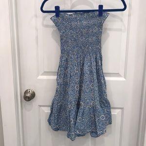 Blue/cream floral strapless cotton dress